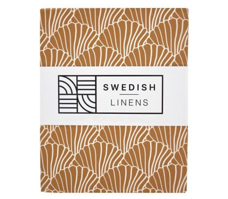 Swedish Linens hoeslaken SEASHELLS Cinnamon brown - diverse maten