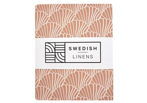 Swedish Linens Seashells fitted sheet terracotta pink - various sizes
