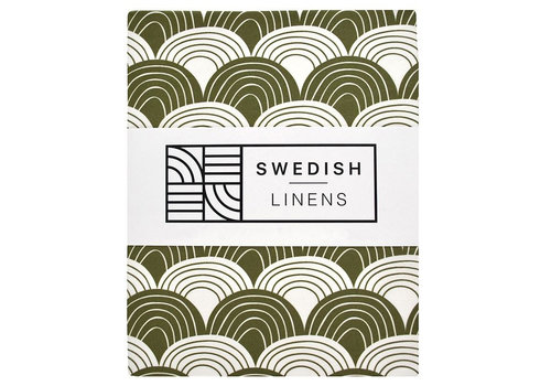 Swedish Linens Rainbows fitted sheet olive green - various sizes