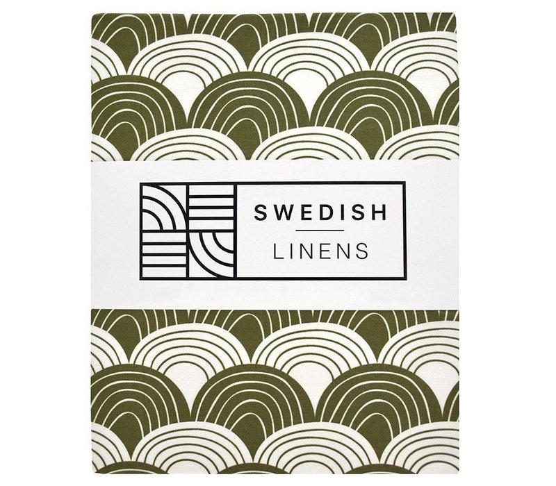 Swedish Linens hoeslaken Olive green - diverse maten