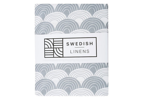 Swedish Linens Rainbows fitted sheet tranquil gray - various sizes