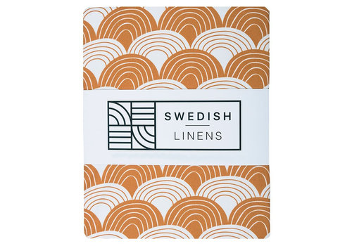 Swedish Linens Rainbows fitted sheet cinnamon brown - various sizes