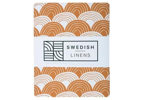 Swedish Linens Rainbows hoeslaken cinnamon brown - diverse maten