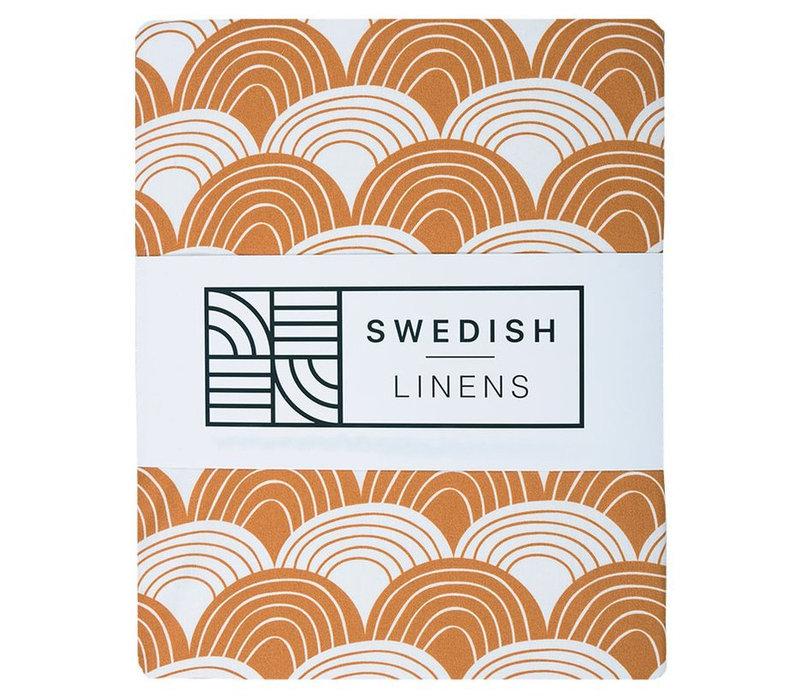 Swedish Linens hoeslaken Cinnamon brown - diverse maten