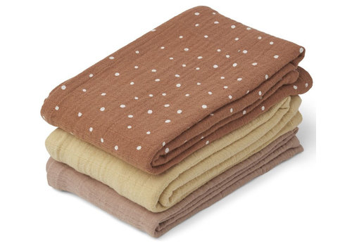 Liewood 3 pack hydrophilic cloths Confetti terracotta mix