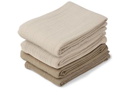 Liewood 4 pack hydrofiele doeken leon natural/sandy mix