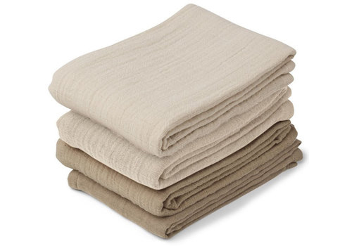 Liewood 4 pack muslin cloths leon natural / sandy mix