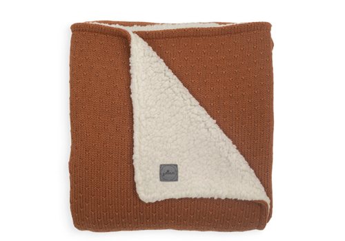 Jollein deken teddy bliss knit caramel  100x150