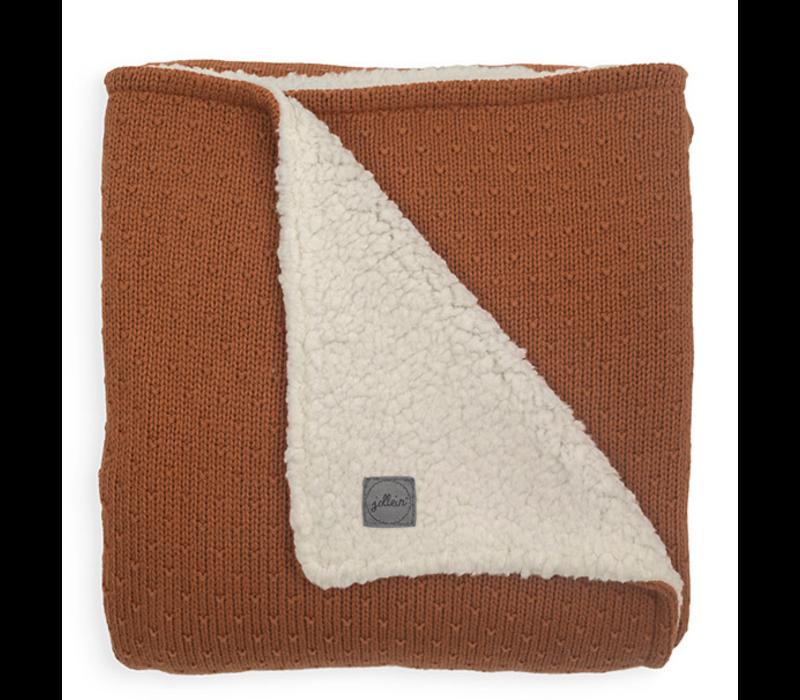Jollein deken teddy bliss knit caramel  75x100
