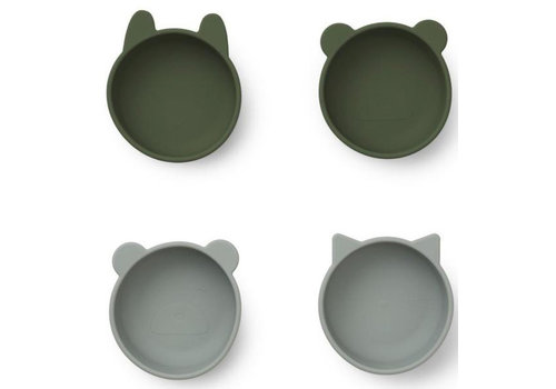 Liewood iggy silicone bowls 4 pack green mix
