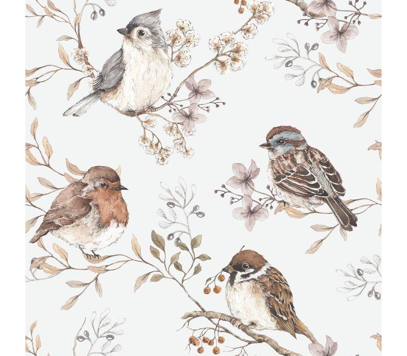 Dekornik - Vögel weiß-grau