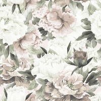 Dekornik behang - White And Pink Peonies