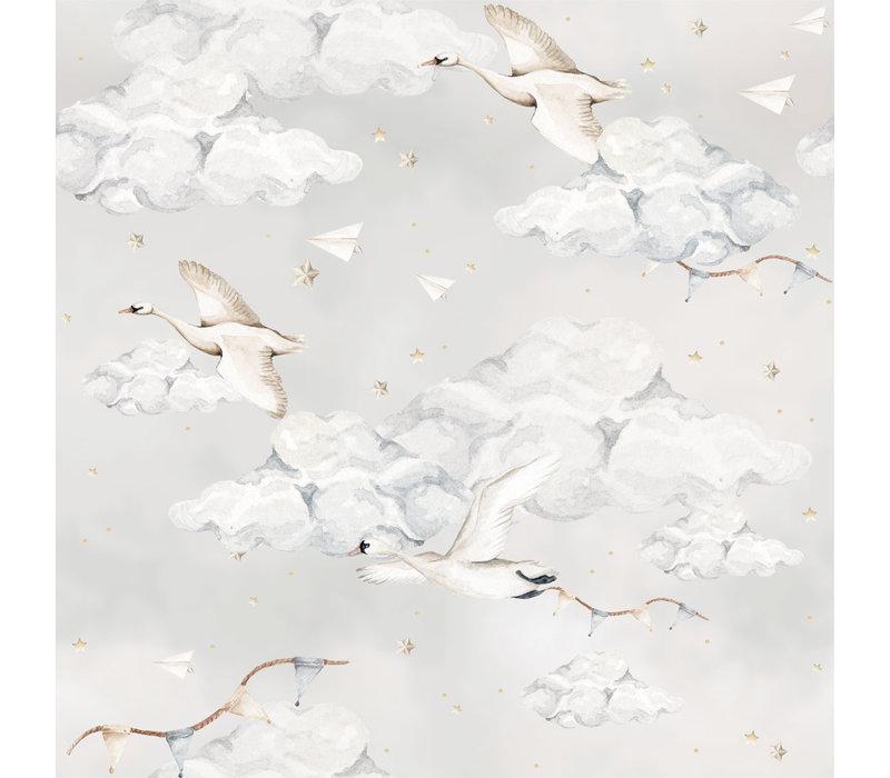 Dekornik behang - Magic Swans Blue