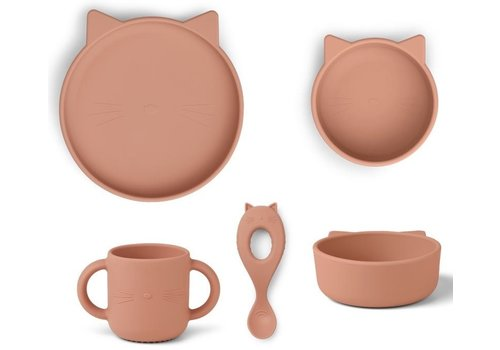 Liewood Vivi silicone set Cat dark rose
