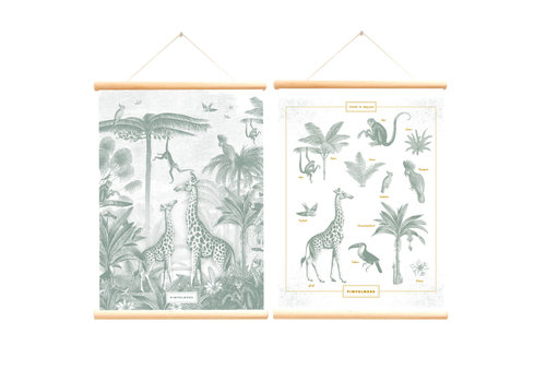 Little & Pure school poster giraffe and monkeys Blue tit