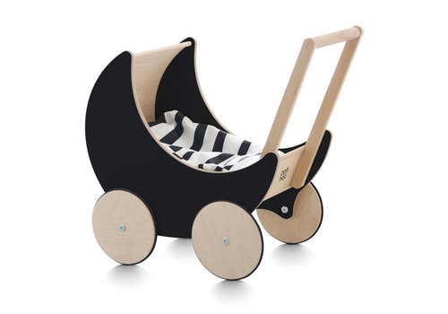 Ooh Noo doll pram wood - black