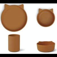 Liewood Cyrus silicone junior set Cat mustard