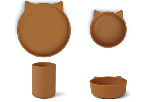 Liewood Cyrus silicone junior set Cat mustard