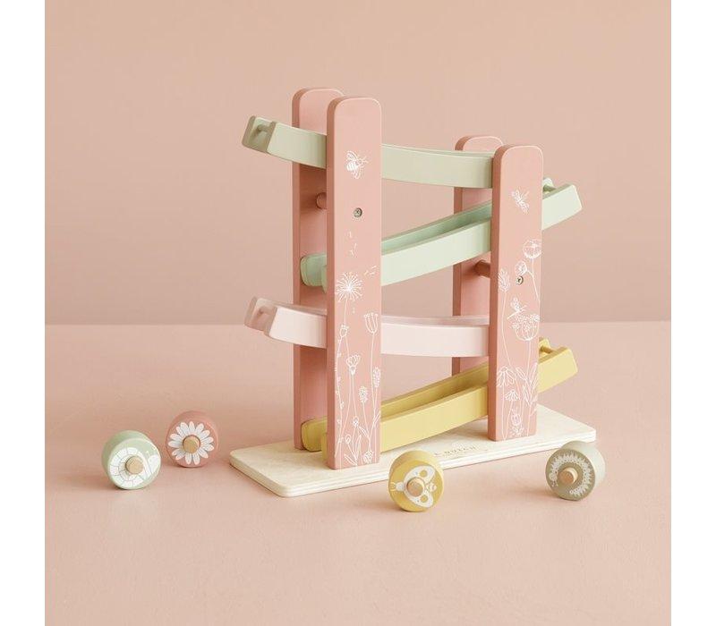 Little Dutch Houten autobaan Bloemenweide roze