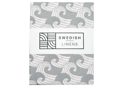 Swedish Linens fitted sheet WAVES tranquil gray - various sizes