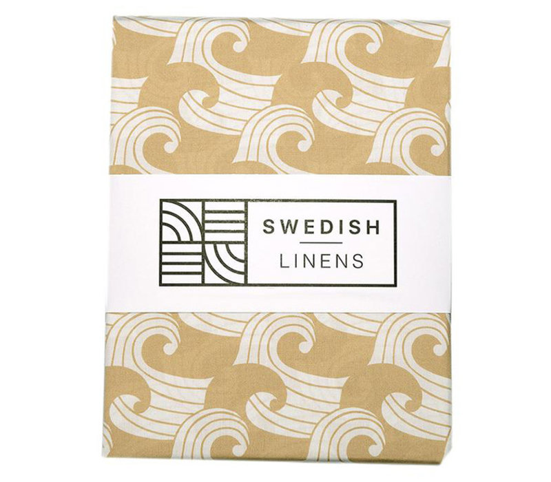 Swedish Linens fitted sheet WAVES warm sand - various sizes