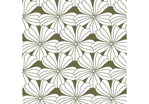 Swedish Linens fitted sheet FLOWERS Olive green - various sizes