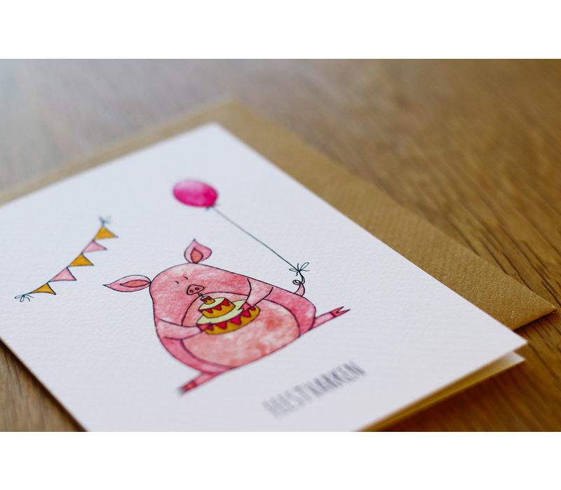 Juulz ansichtkaart Feestvarken