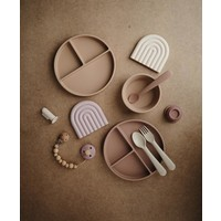 Mushie silicone plate with suction cup - Blush