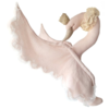 Love me Decoration animal head linen & lace Swan - Powder pink
