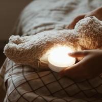 Moonie knuffel hartslag en licht Bear Mineral Grey