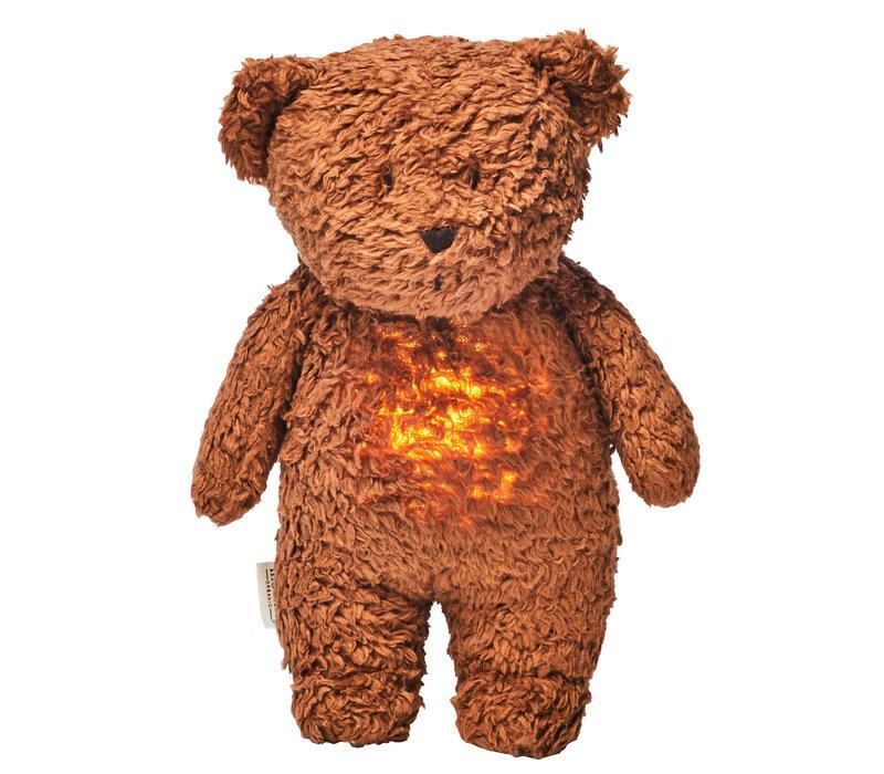 Moonie knuffel hartslag en licht Bear Caramel