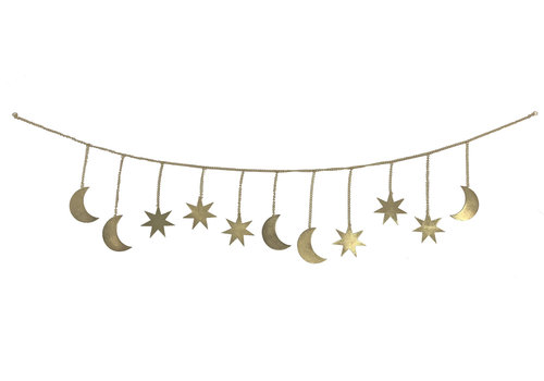Mrs. Strawberry Moon & star garland gold