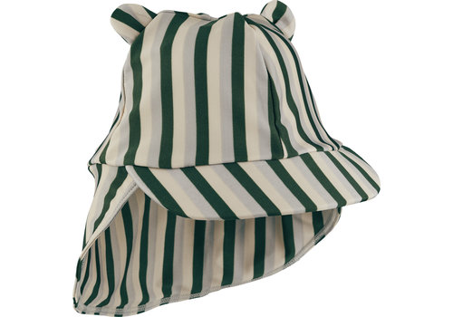 Liewood Senia sun hat stripe garden green / sandy / dove blue