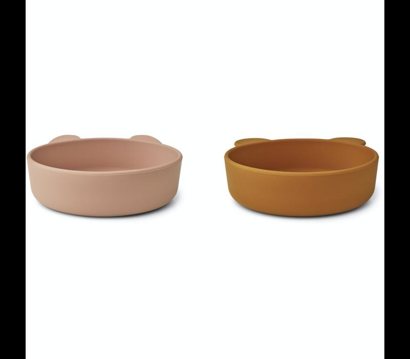 Liewood Vanessa silicone bowls 2 pack dark rose/mustard mix