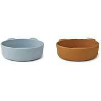 Liewood Vanessa silicone bowls 2 pack sea blue mustard mix