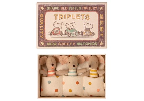Maileg Baby mouse triplets in matchbox dot
