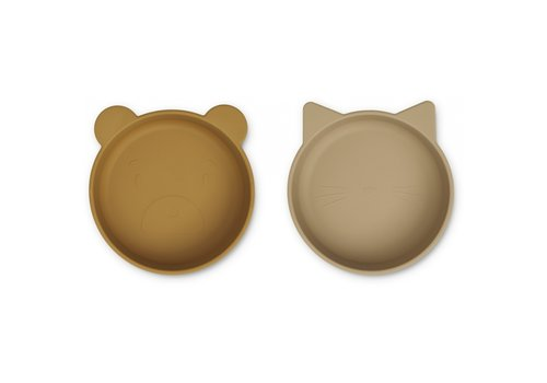 Liewood Vanessa silicone bowls 2 pack golden caramel oat mix
