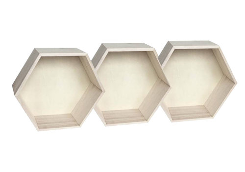 Hexagon wall cabinets medium large - 3 pieces
