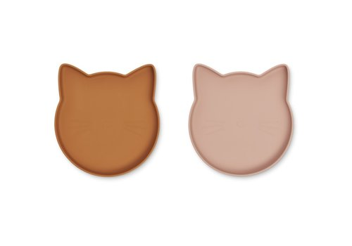 Liewood Marty plate cat mustard/dark rose mix - 2 pack