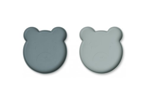 Liewood Marty plate mr. bear blue mix - 2 pack - Copy