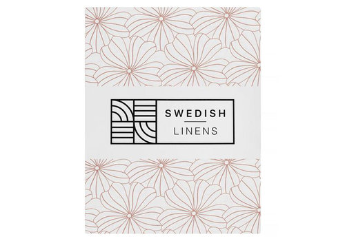 Swedish Linens Flowers fitted sheet white - various sizes