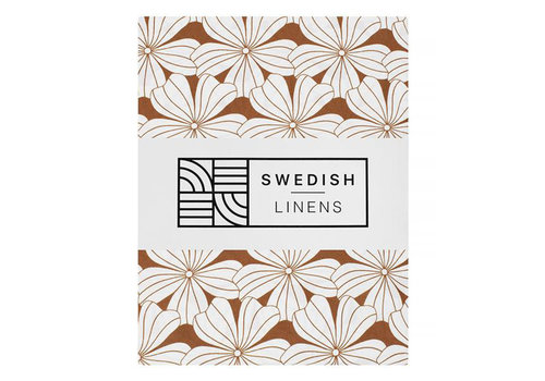 Swedish Linens Flowers fitted sheet cinnamon brown - various sizes