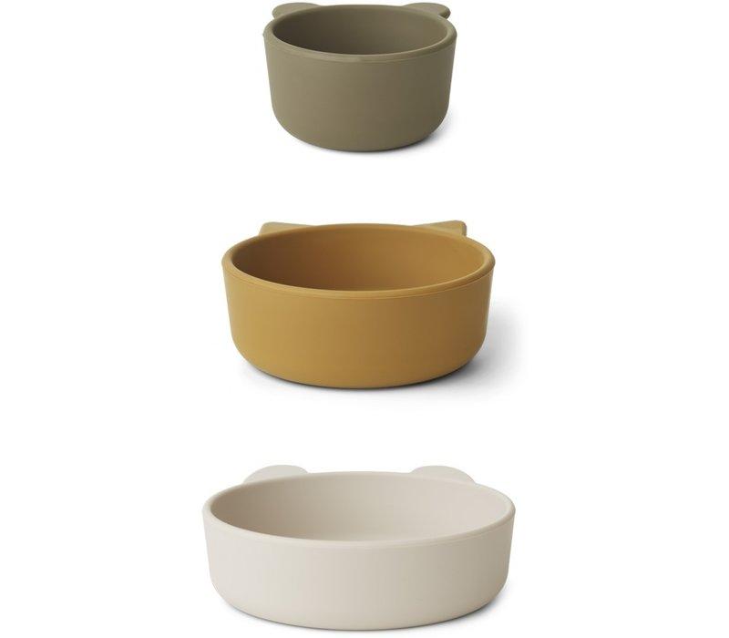 Liewood Eddie silicone bowls sandy khaki multi mix - 3 pack