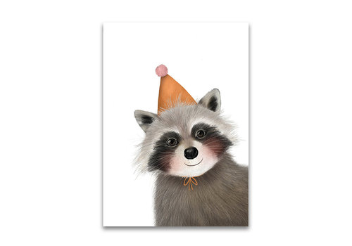 Drawn by sister postcard Raccoon party hat
