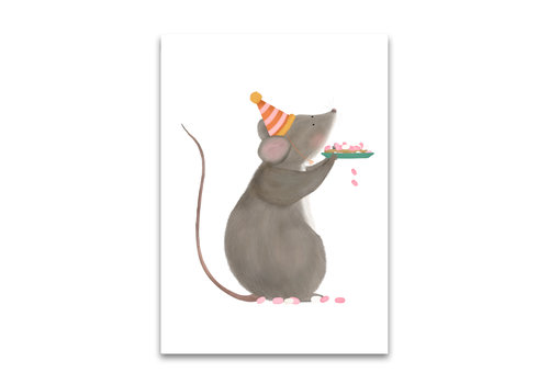 Signed by sister postcard Rusk with mice pink