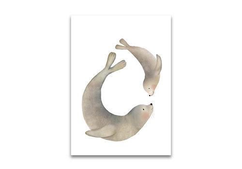 Getekenddoorzusje ansichtkaart Zeehonden