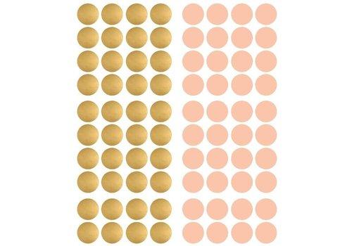 Pom le Bonhomme 120 muurstickers stippen goud roze 3,5cm
