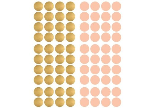 Pom le Bonhomme 120 wall stickers dots gold pink 3,5cm