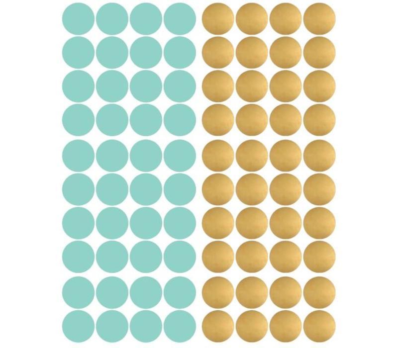 Pom le Bonhomme 120 Wandaufkleber Punkte Gold Mint 3,5cm