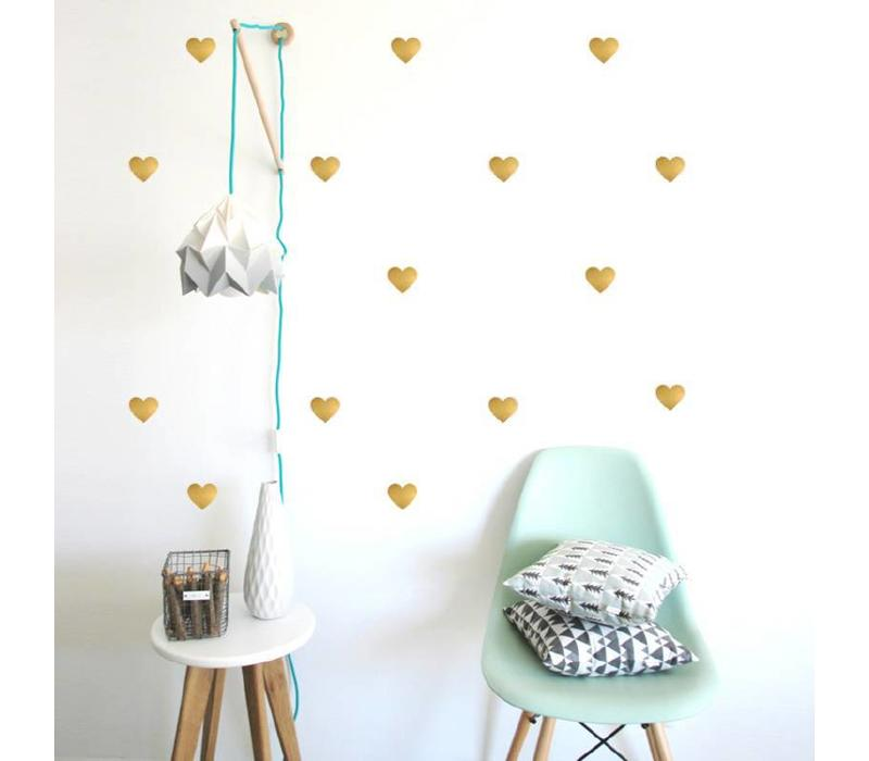 Pom le Bonhomme 72 wall stickers hearts gold